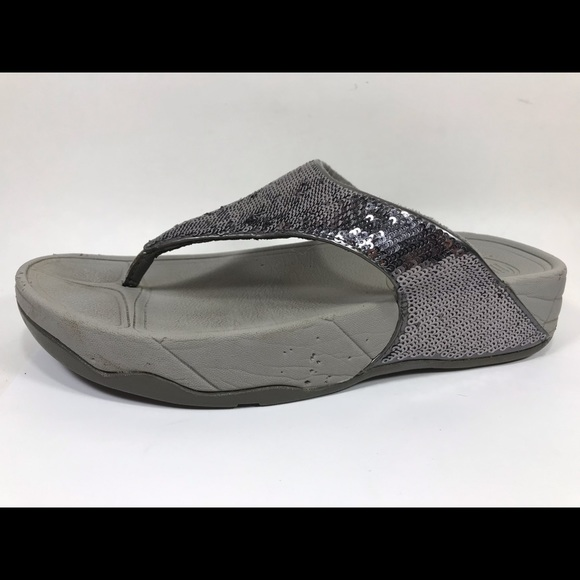 4062b21f7 Fitflop Shoes - Fitflop Silver Sequin Flip Flops